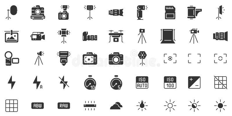 Pictogram fotocamera silhouet Fotografiecamera's, sluitersnelheid, opening en belichting van digitale camera's, zwarte stencil vector illustratie
