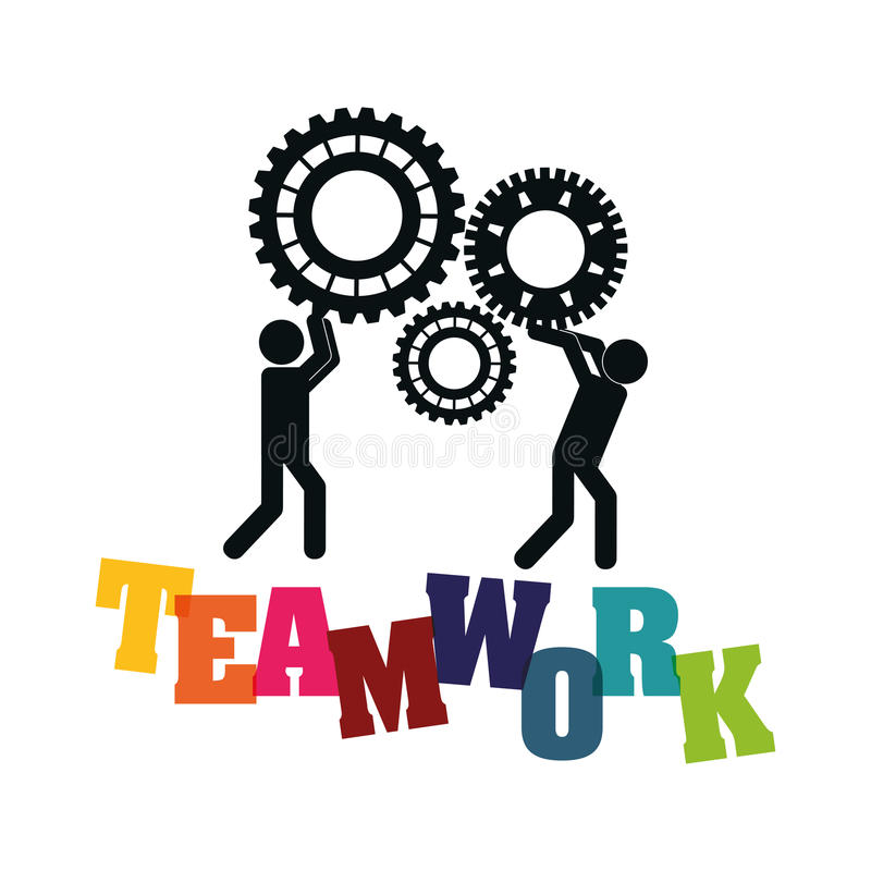 Pictogram gears teamwork support design vector illustration