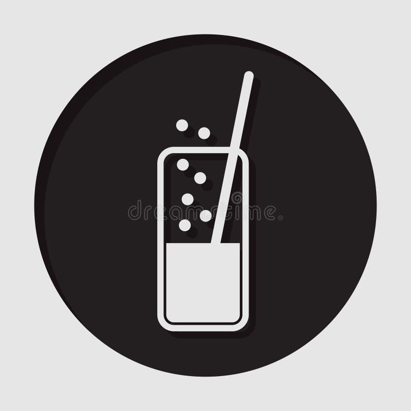 Pictogram - glas met sprankelend drank en stro royalty-vrije illustratie