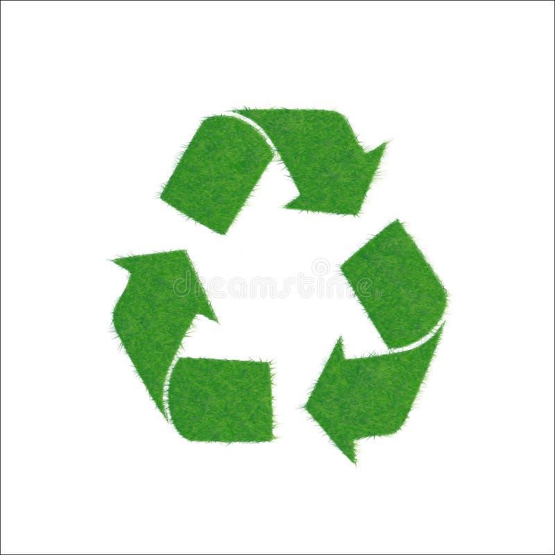 Pictogram groen teken van recycling, op witte achtergrond stock illustratie