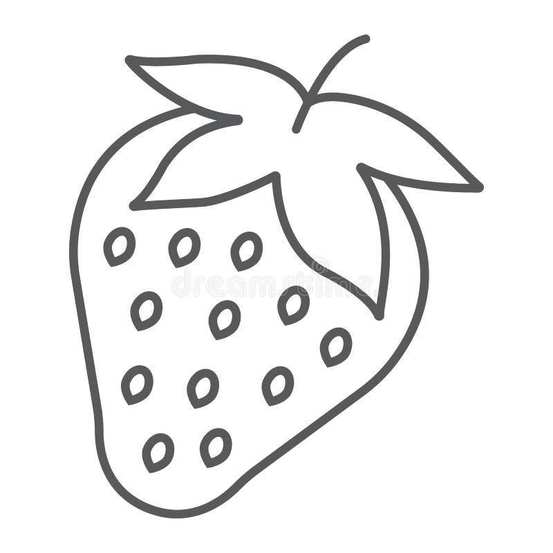 Pictogram, het fruit en de vitamine van de aardbei het dunne lijn stock illustratie