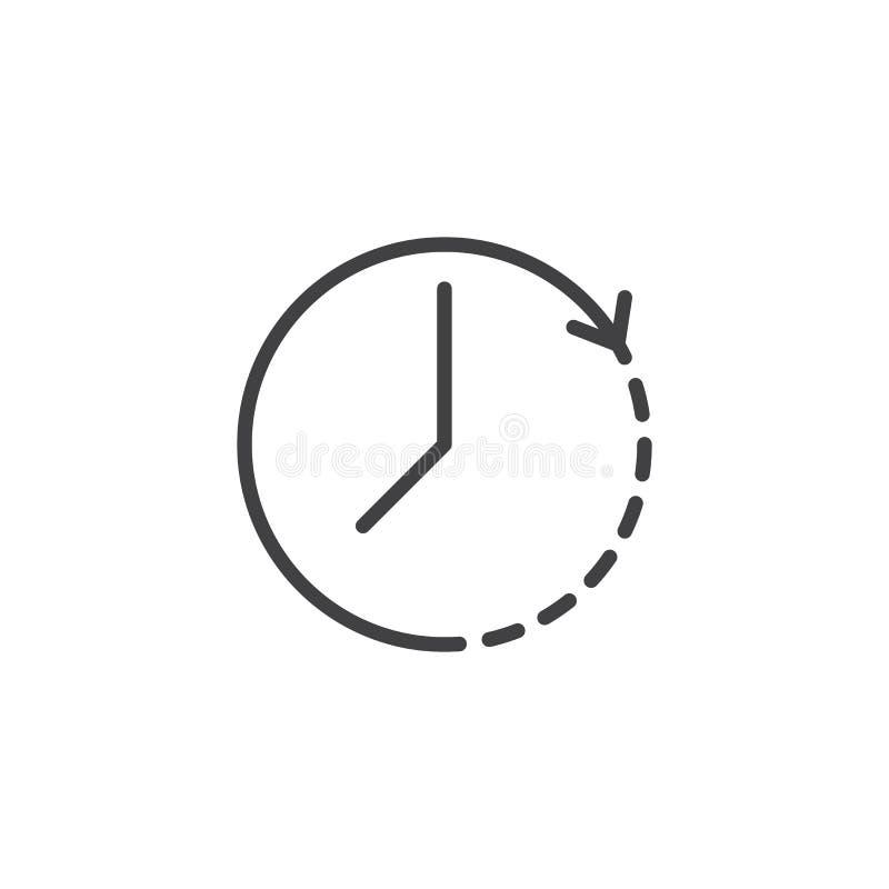 Pictogram het met de wijzers van de klok mee van het omwentelingsoverzicht vector illustratie