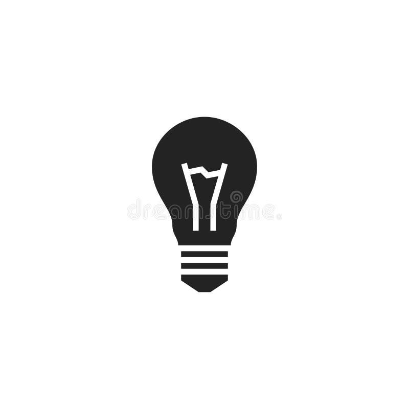 Pictogram, het Symbool of het Embleem van Glyph van de lampbol het Vector stock illustratie