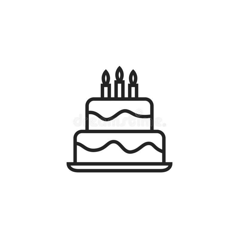 Pictogram, het Symbool of het Embleem van Oultine van de verjaardagscake het Vector vector illustratie