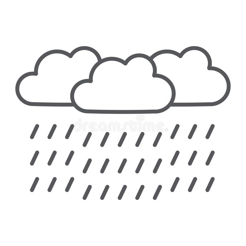 Pictogram, het weer en de meteorologie van de zware regen ondertekenen het dunne lijn, raincloud, vectorafbeeldingen, een lineair vector illustratie