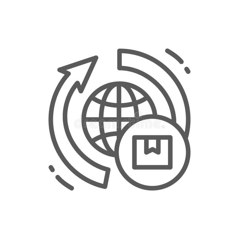 Pictogram het wereldwijd van de leveringslijn vector illustratie