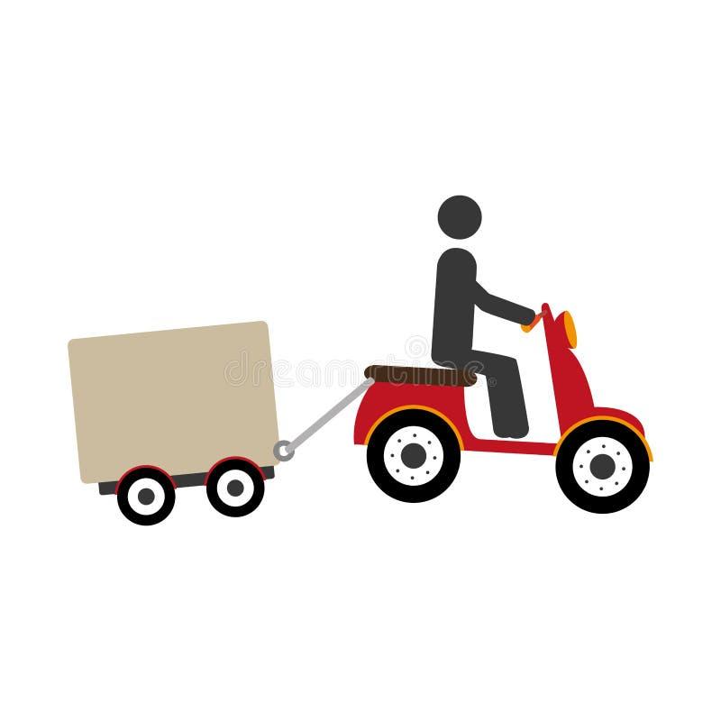 Pictogram i sparkcykel med symbolen för fraktbil royaltyfri illustrationer