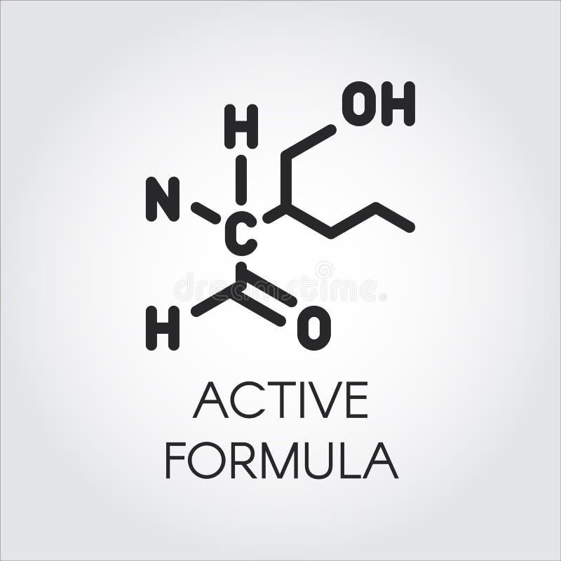 Pictogram in lineaire stijl van actief formuleconcept Geneeskunde, wetenschap, biologie, chemiethema Vector zwart contouretiket stock illustratie