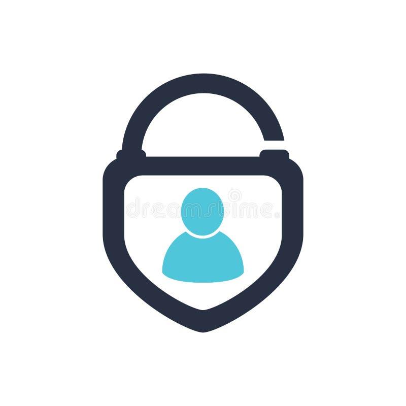 Pictogram Logo Design Element van het veiligheids het Menselijke Slot Pictogram Logo Design Element van het veiligheids het Mense royalty-vrije illustratie