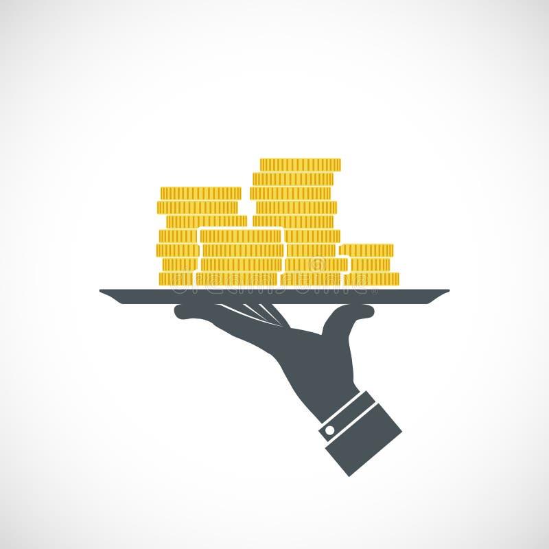 Pictogram menselijke hand die een dienblad met gouden muntstukken houden Embleem van inkomens royalty-vrije illustratie