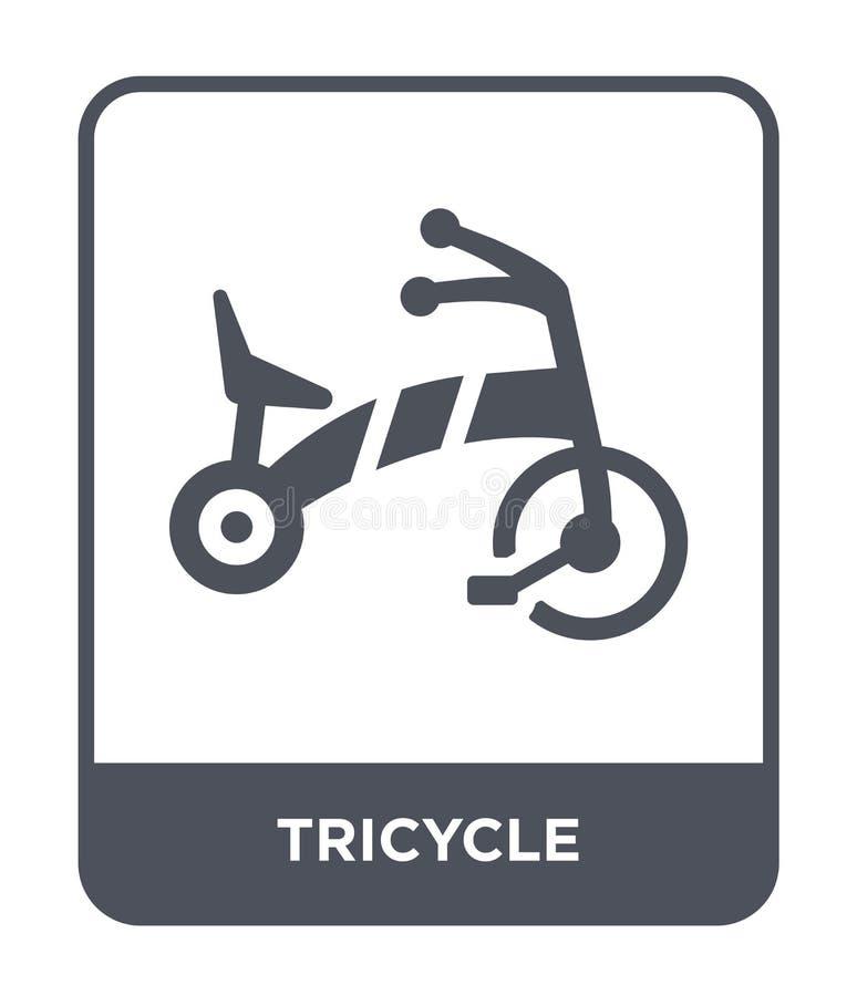 pictogram met drie wielen in in ontwerpstijl pictogram met drie wielen die op witte achtergrond wordt geïsoleerd vectorpictogram  stock illustratie