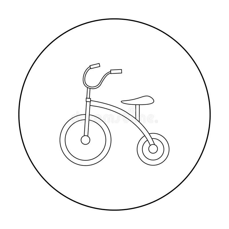 Pictogram met drie wielen in overzichtsstijl die op witte achtergrond wordt geïsoleerd Van de het symboolvoorraad van de speltuin vector illustratie