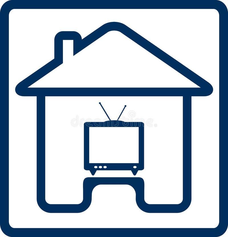 Pictogram met huis en het silhouet van TV vector illustratie