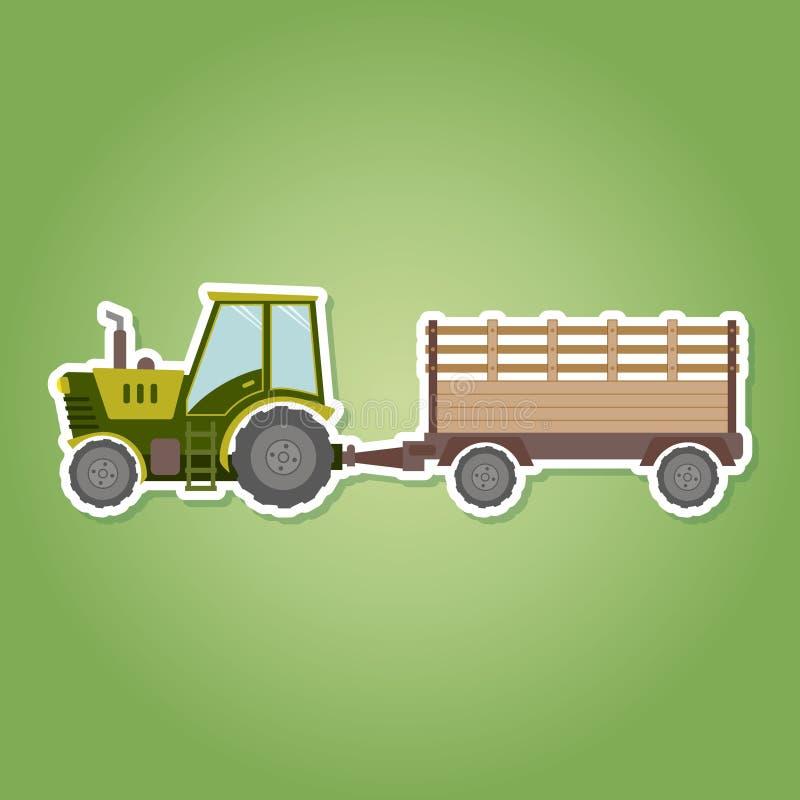 pictogram met landbouwbedrijftractor en aanhangwagen stock illustratie
