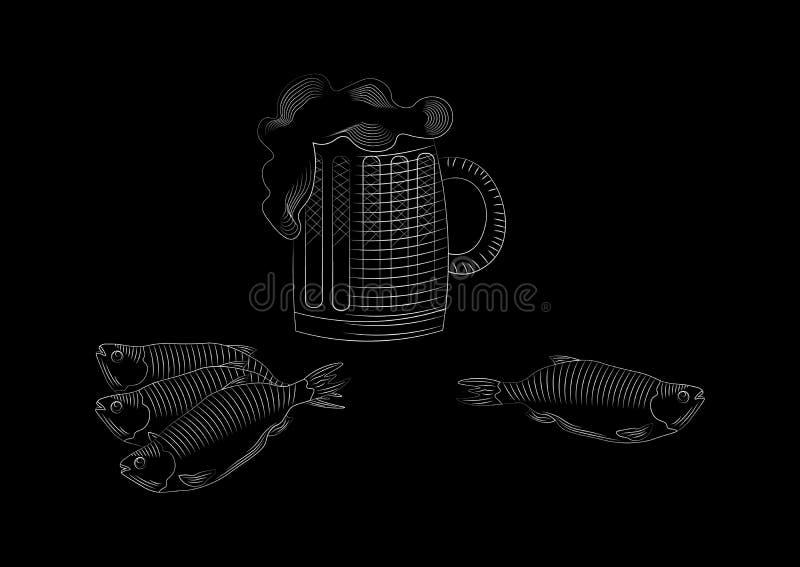 Pictogram met mokbier en vectorillustratie van de vissen de grafische stijl royalty-vrije illustratie