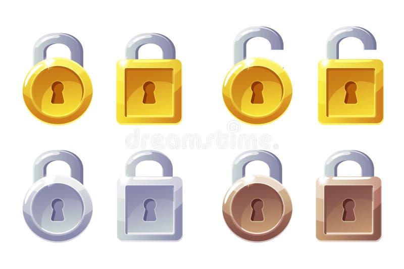 Pictogram met vierkante en ronde vorm Vector GUI Level Lock Padsluizen, hondjes, zilver en bronzen vector illustratie