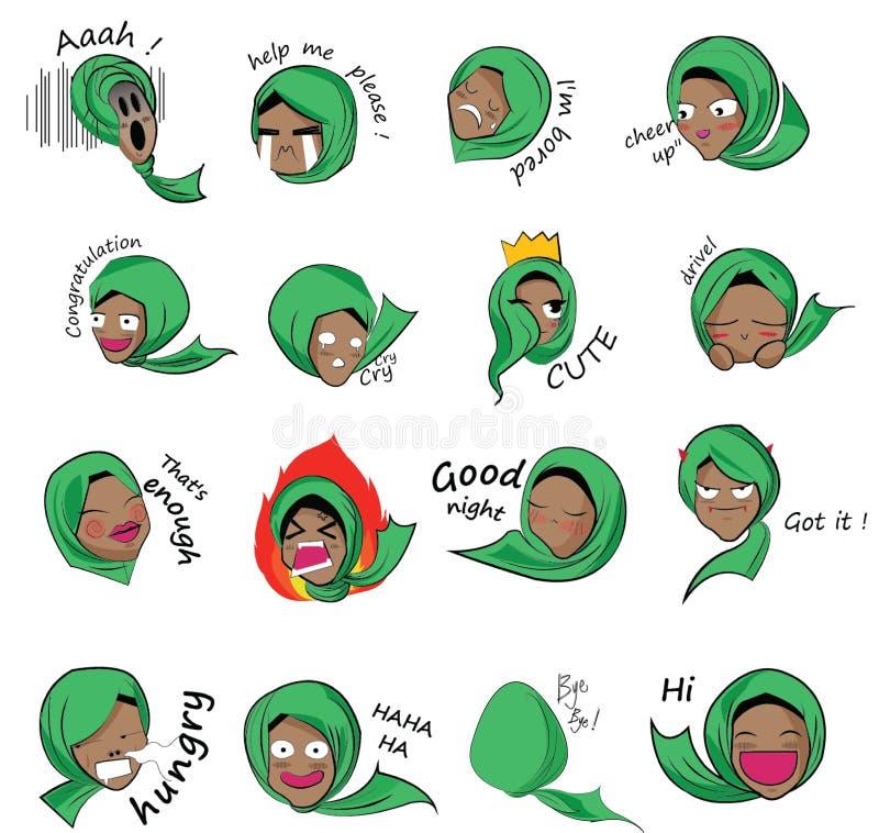 Pictogram moslimmeisje royalty-vrije stock afbeelding