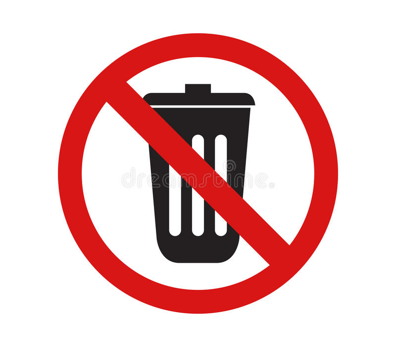 Pictogram om vuilnis niet te werpen vector illustratie