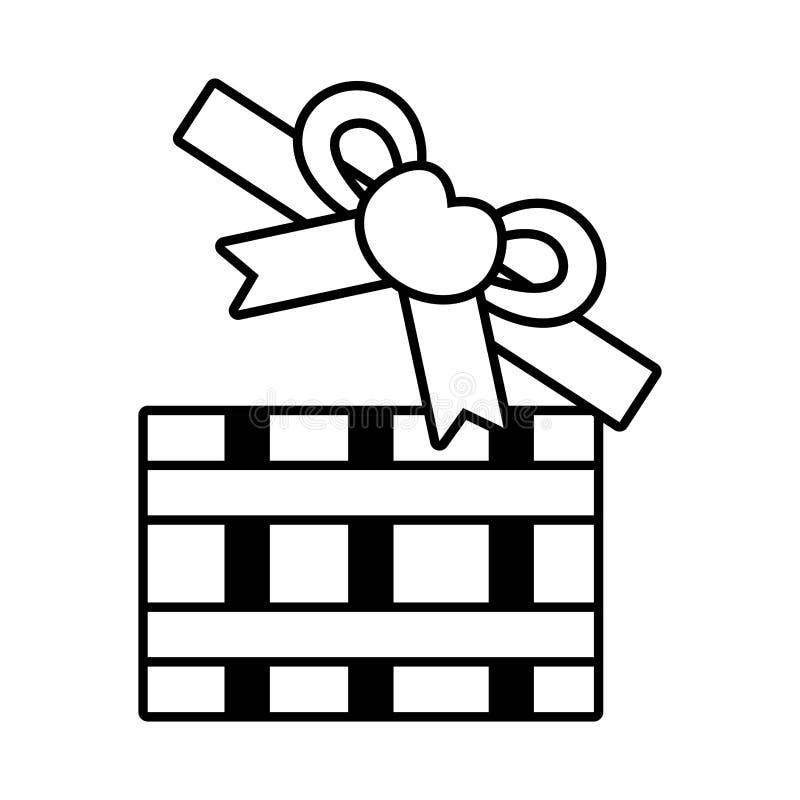 Pictogram open gift box bow heart design. Vector illustration eps 10 stock illustration