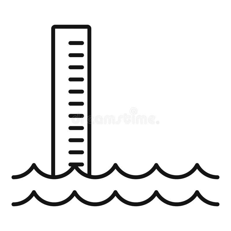 Pictogram overstromingswater, contourstijl royalty-vrije illustratie