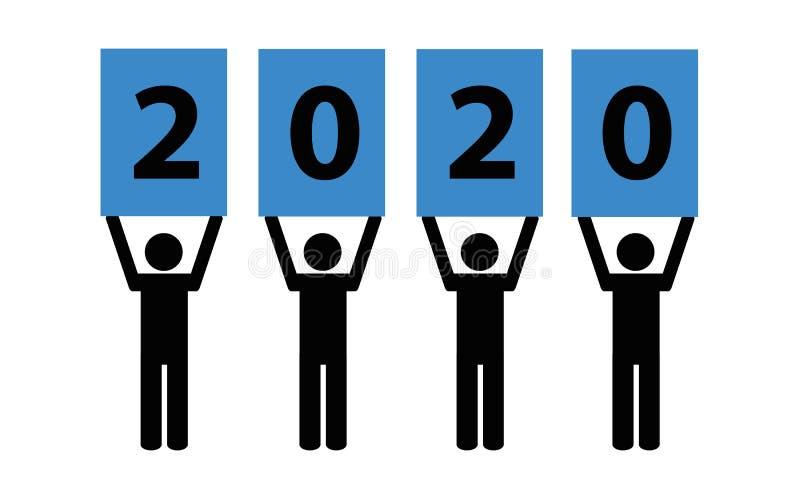 pictogram 2020 på en vit bakgrund stock illustrationer