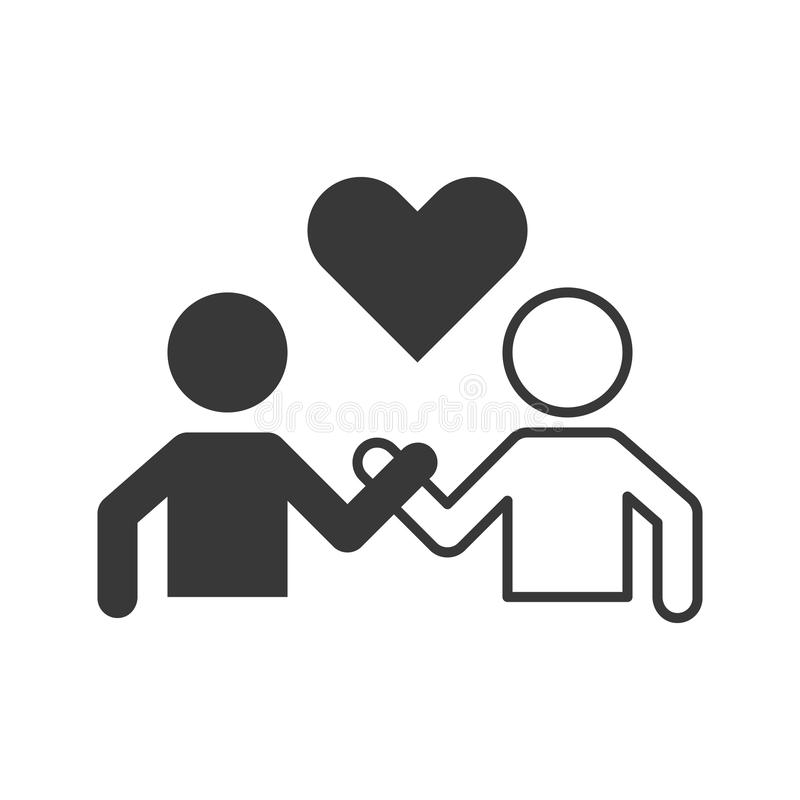 Pictogram of people holding hand and heart royalty free illustration