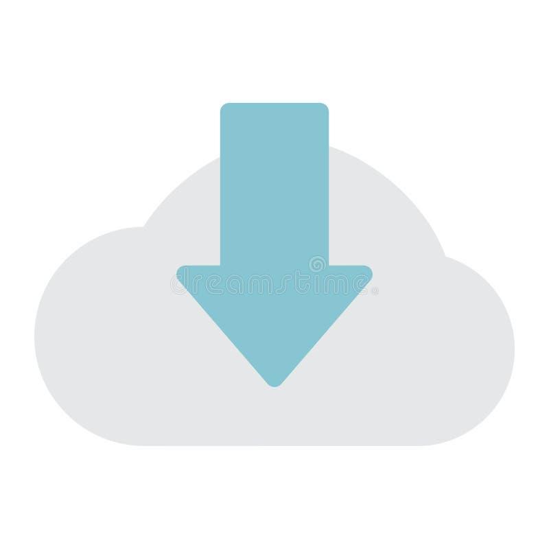 Pictogram, seo en de website van de wolkendownload het vlakke stock illustratie