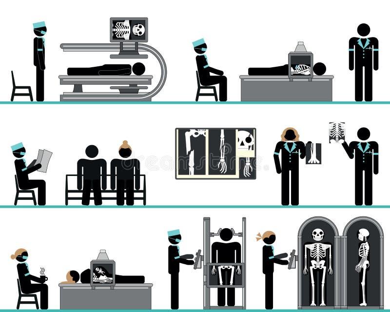 Pictogram set of radiology department stock illustration