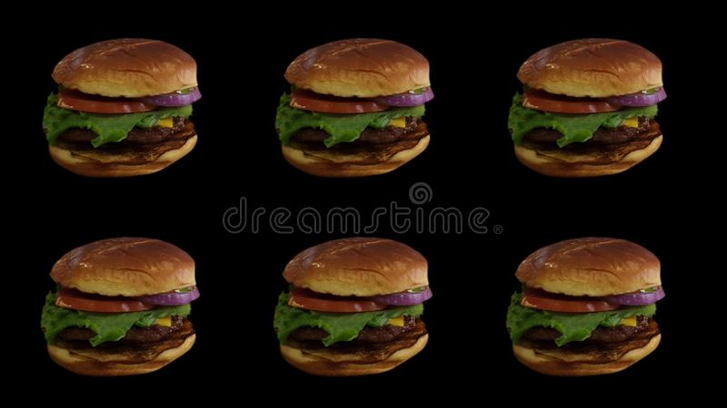 Hamburgers Pictogram Six Days A Week. Pictogram of Six Hamburgers in Black Background - Six Days A Week Monday to Saturday stock images