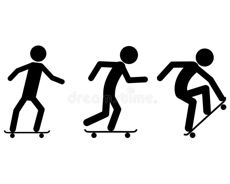 Pictogram of skating in summer stock illustration