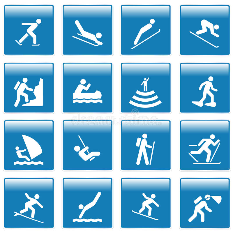 Pictogram with sport activities stock illustration