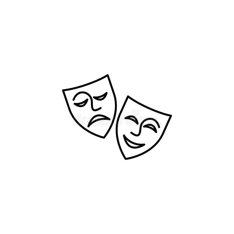 pictogram Theatermaskers, komedie en tragedie royalty-vrije illustratie