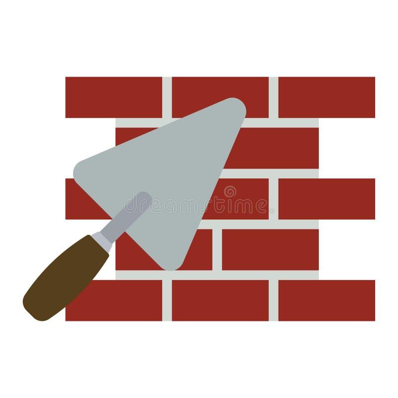Download Pictogram Van Bakstenen Muur Met Troffel Vector Illustratie - Illustratie bestaande uit voorwerp, plasterer: 107703321