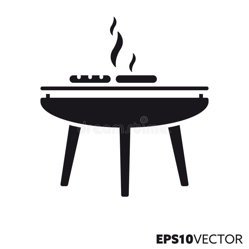 Pictogram van barbecue het vectorglyph royalty-vrije illustratie