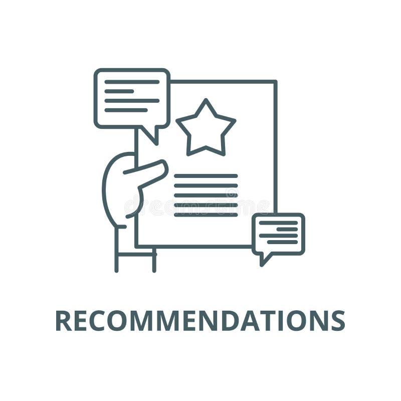Pictogram van de aanbevelingen het vectorlijn, lineair concept, overzichtsteken, symbool stock illustratie