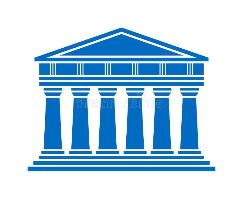 Pictogram van de architectuur het Griekse tempel stock illustratie