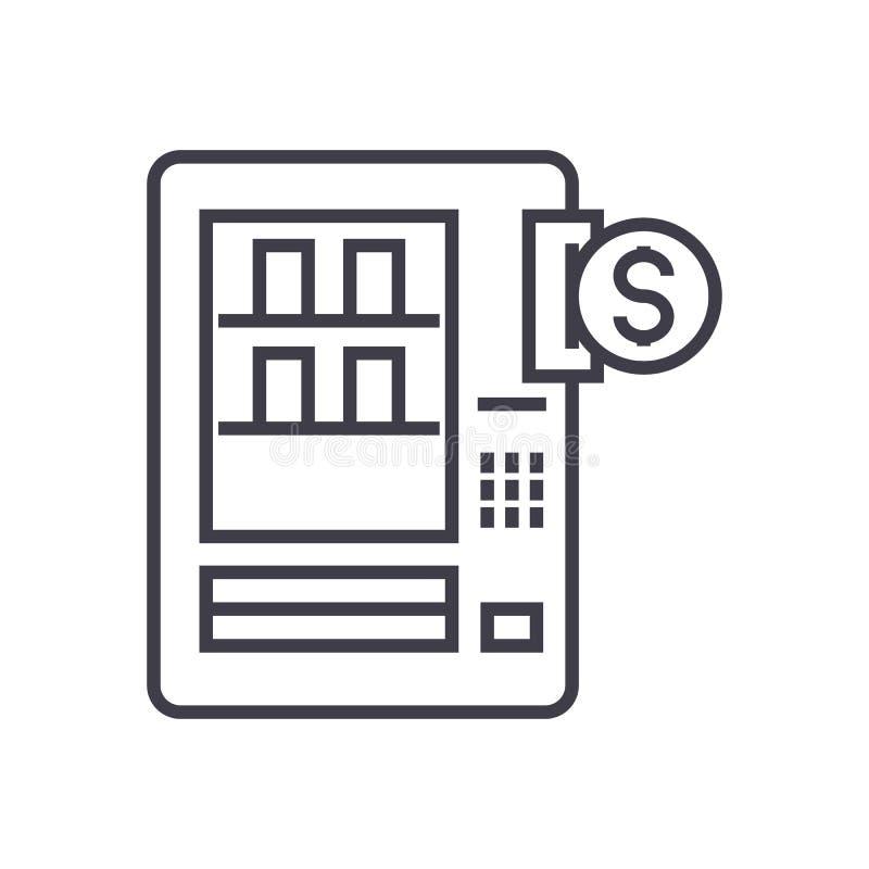 Pictogram van de automaten het vectorlijn, teken, illustratie op achtergrond, editable slagen stock illustratie