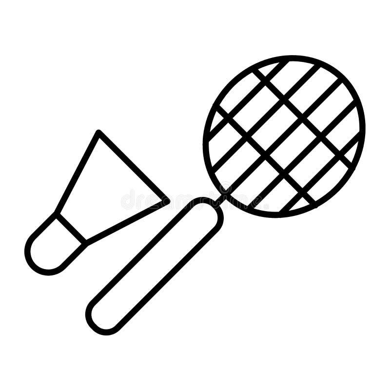 Pictogram van de badminton het dunne lijn Racket en shuttle vectordieillustratie op wit wordt geïsoleerd De stijlontwerp van het  vector illustratie