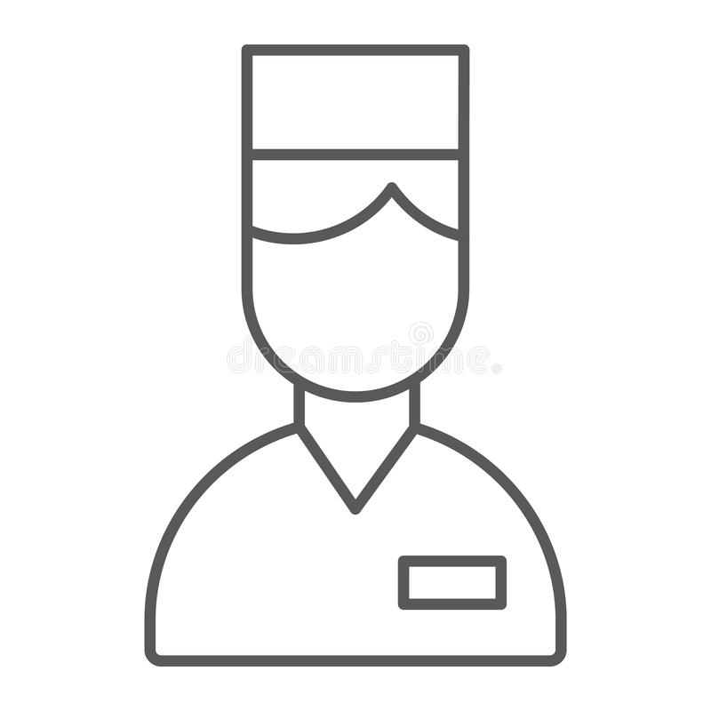 Pictogram van de bediende het dunne lijn, hotel en de dienst, portierteken, vectorafbeeldingen, een lineair patroon op een witte  royalty-vrije illustratie