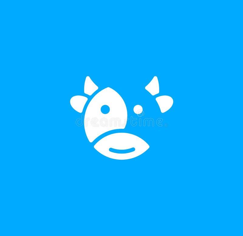 Pictogram van de beeldverhaal het leuke koe op blauwe achtergrond Melk vectorembleem Vleeslandbouwbedrijf, grappig etiket Het zui stock illustratie