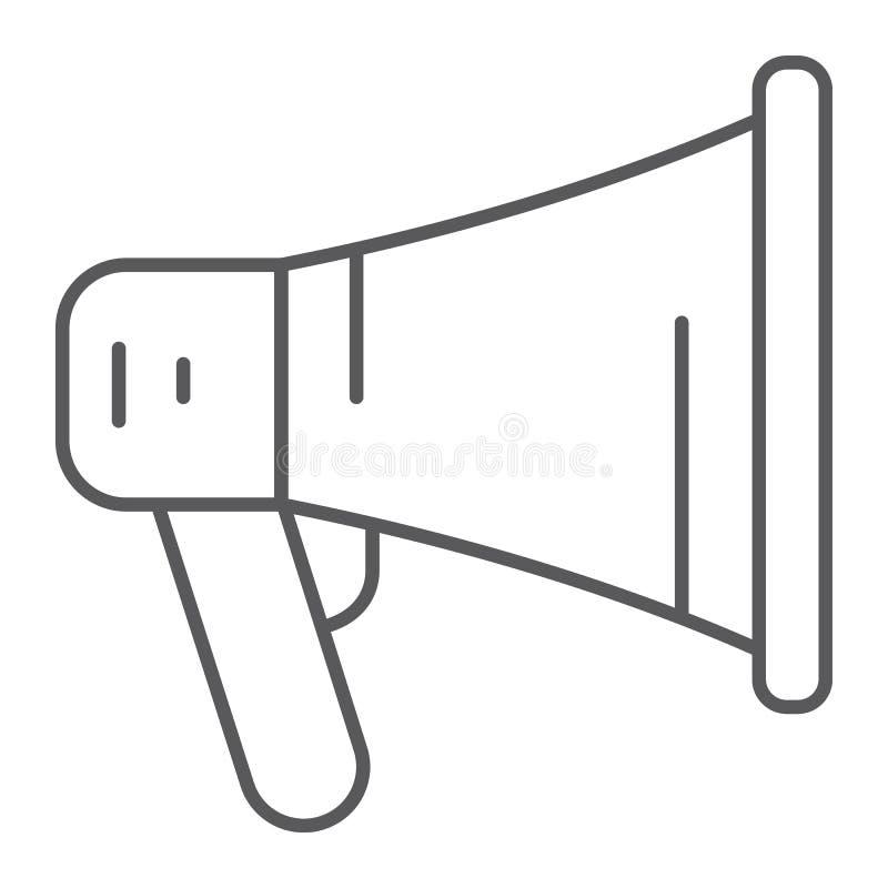 Pictogram van de bevorderings het dunne lijn, megafoon en mededeling, luidsprekersteken, vectorafbeeldingen, een lineair patroon royalty-vrije illustratie