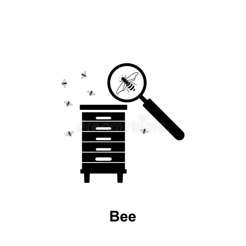 pictogram van de bijen het meer magnifier honingraat Element van imkerijpictogram Grafisch het ontwerppictogram van de premiekwal royalty-vrije illustratie