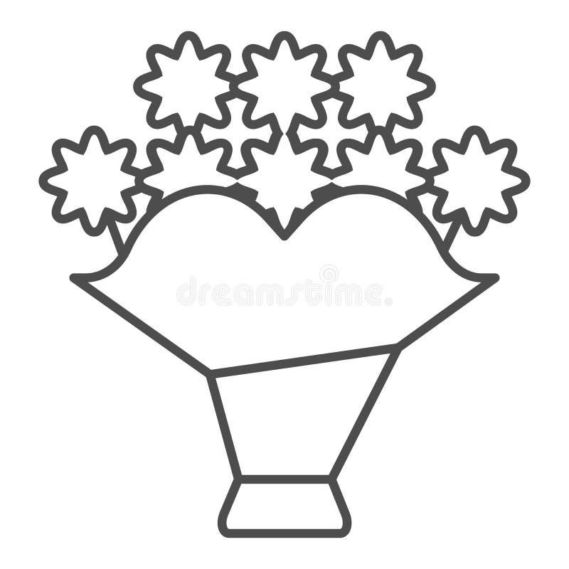 Pictogram van de boeket het dunne lijn Bloem vectordieillustratie op wit wordt geïsoleerd Het bloemendieontwerp van de overzichts vector illustratie