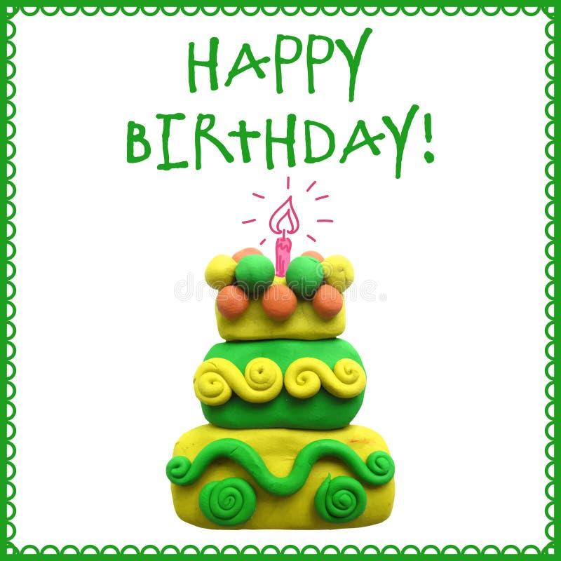 Pictogram van de cake van de plasticineverjaardag royalty-vrije illustratie