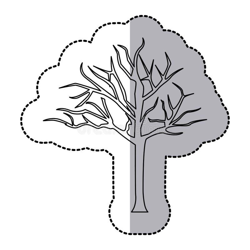 pictogram van de cijfer het naakte eiken boom stock illustratie