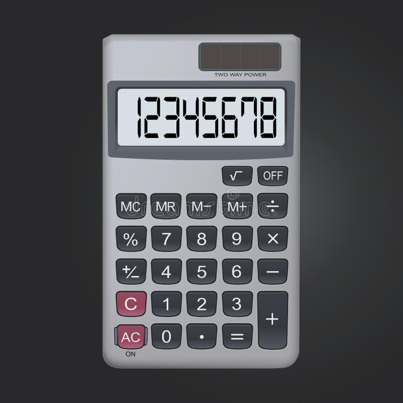pictogram van de 8 cijfer het realistische calculator dat op zwarte achtergrond wordt geïsoleerd royalty-vrije illustratie
