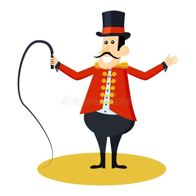 Pictogram van de circus het dierlijke trainer Beeldverhaalillustratie van circus dierlijke trainer De vector isoleerde retro toon royalty-vrije illustratie