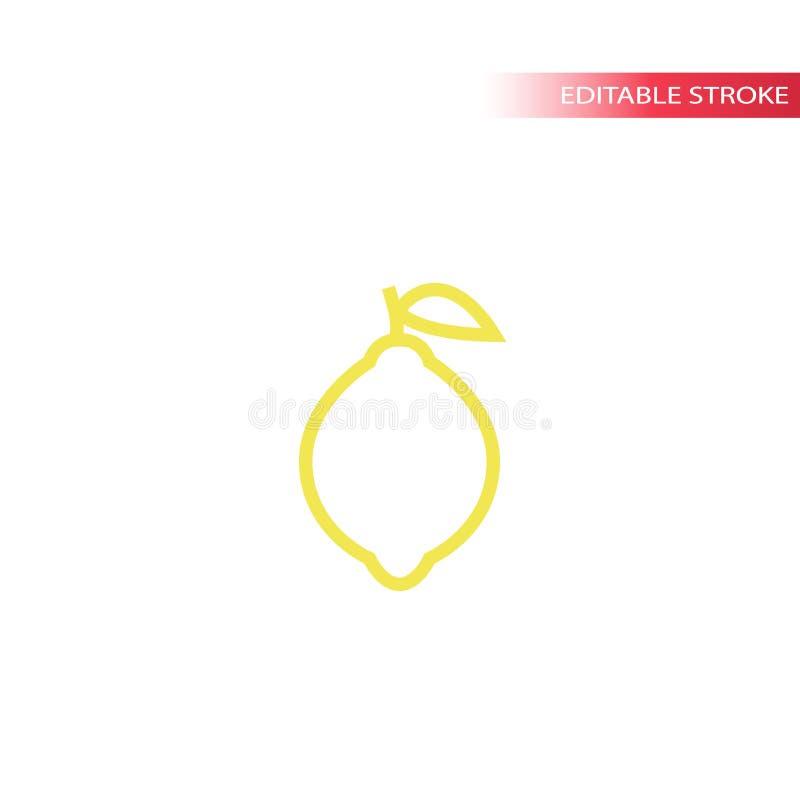 Pictogram van de citroen het eenvoudige lijn in kleur Het vectorpictogram van de overzichtscitroen vector illustratie