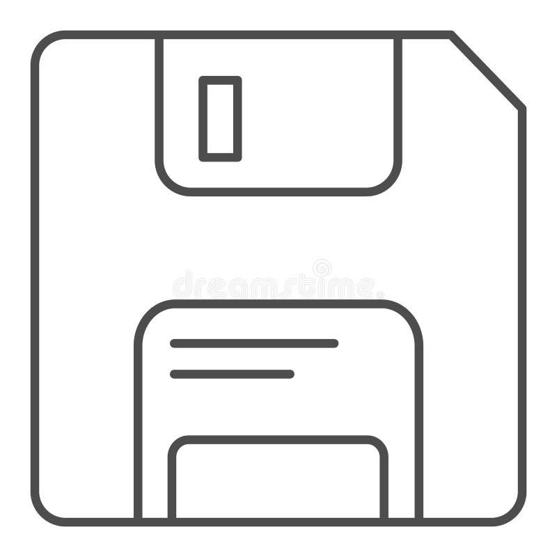 Pictogram van de diskette het dunne lijn Geheugen vectordieillustratie op wit wordt geïsoleerd De stijlontwerp van het gegevensov stock illustratie