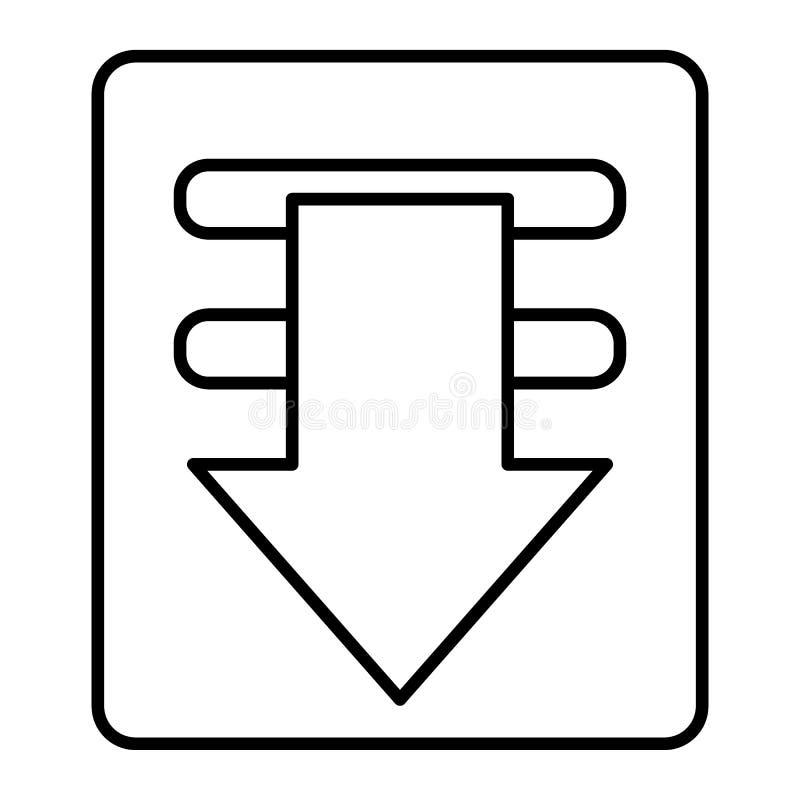 Pictogram van de download het dunne lijn Downloadend de vectordieillustratie van het dossierteken op wit wordt geïsoleerd De stij vector illustratie